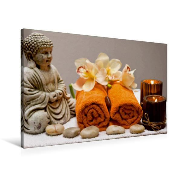 Premium Textil-Leinwand 90 cm x 60 cm quer, Entspannung mit Buddha | Wandbild, Bild auf Keilrahmen, Fertigbild auf echter Leinwand, Leinwanddruck - Coverbild