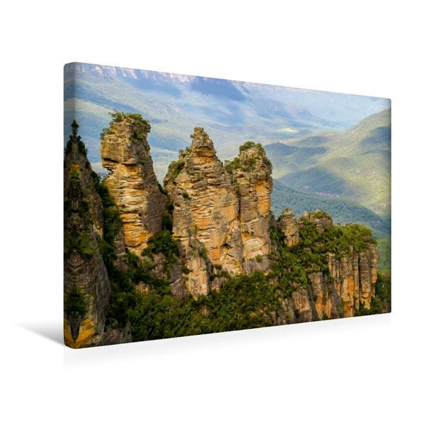 Premium Textil-Leinwand 45 cm x 30 cm quer, Three Systers in den Blue Mountains, Australien | Wandbild, Bild auf Keilrahmen, Fertigbild auf echter Leinwand, Leinwanddruck - Coverbild