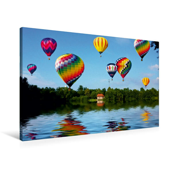 Premium Textil-Leinwand 90 cm x 60 cm quer, Aueweiher | Wandbild, Bild auf Keilrahmen, Fertigbild auf echter Leinwand, Leinwanddruck - Coverbild
