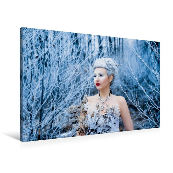Premium Textil-Leinwand 90 cm x 60 cm quer, Die Schneekönigin | Wandbild, Bild auf Keilrahmen, Fertigbild auf echter Leinwand, Leinwanddruck - Coverbild