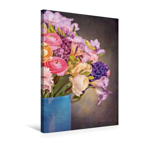 Premium Textil-Leinwand 50 cm x 75 cm hoch, Strauß aus Freesien, Tulipen, Hahnenfüßen und Hyazinthen | Wandbild, Bild auf Keilrahmen, Fertigbild auf echter Leinwand, Leinwanddruck - Coverbild