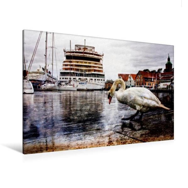 Premium Textil-Leinwand 120 cm x 80 cm quer, Stavanger - Skagenkaien | Wandbild, Bild auf Keilrahmen, Fertigbild auf echter Leinwand, Leinwanddruck - Coverbild