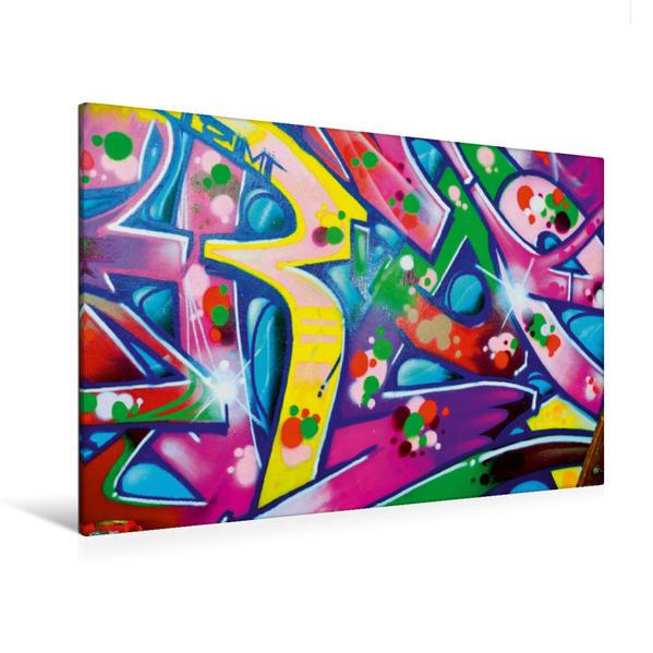 Premium Textil-Leinwand 120 cm x 80 cm quer, Graffiti ist Kult   Wandbild, Bild auf Keilrahmen, Fertigbild auf echter Leinwand, Leinwanddruck - Coverbild