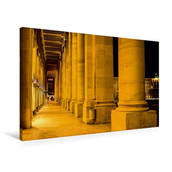 Premium Textil-Leinwand 90 cm x 60 cm quer, Stuttgart - Königsbau am Schlossplatz | Wandbild, Bild auf Keilrahmen, Fertigbild auf echter Leinwand, Leinwanddruck - Coverbild
