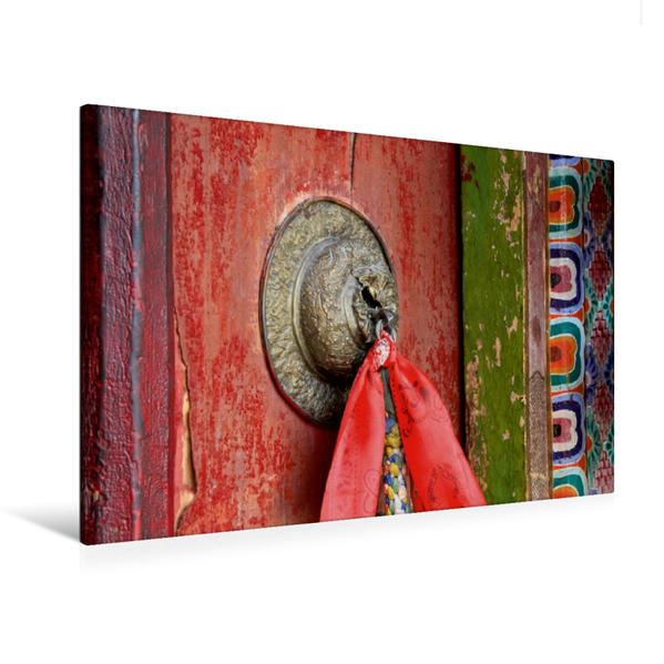 Premium Textil-Leinwand 120 cm x 80 cm quer, Tür im Kloster Thiksey | Wandbild, Bild auf Keilrahmen, Fertigbild auf echter Leinwand, Leinwanddruck - Coverbild