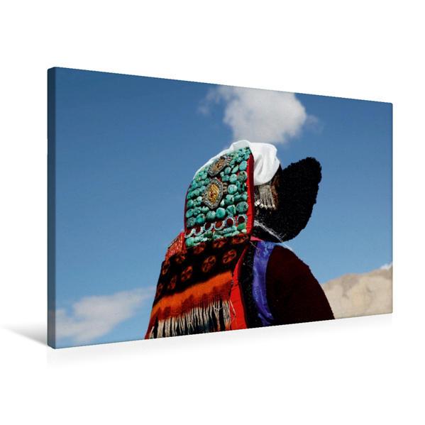 Premium Textil-Leinwand 75 cm x 50 cm quer, Frau mit ladakhischem Kopfschmuck | Wandbild, Bild auf Keilrahmen, Fertigbild auf echter Leinwand, Leinwanddruck - Coverbild