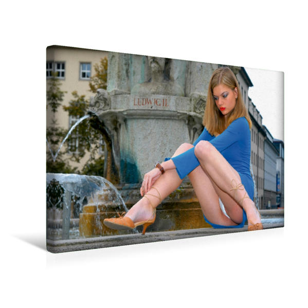Premium Textil-Leinwand 45 cm x 30 cm quer, Sommer auf Ibiza   Wandbild, Bild auf Keilrahmen, Fertigbild auf echter Leinwand, Leinwanddruck - Coverbild