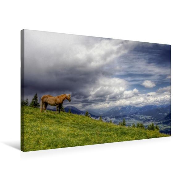 Premium Textil-Leinwand 75 cm x 50 cm quer, Dreiländereck Österreich - Slowenien - Italien   Wandbild, Bild auf Keilrahmen, Fertigbild auf echter Leinwand, Leinwanddruck - Coverbild