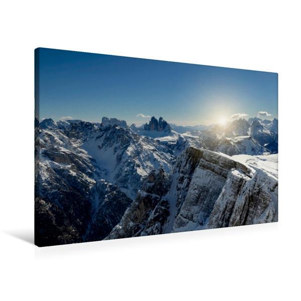 Premium Textil-Leinwand 90 cm x 60 cm quer, Sextner Dolomiten mit drei Zinnen | Wandbild, Bild auf Keilrahmen, Fertigbild auf echter Leinwand, Leinwanddruck - Coverbild