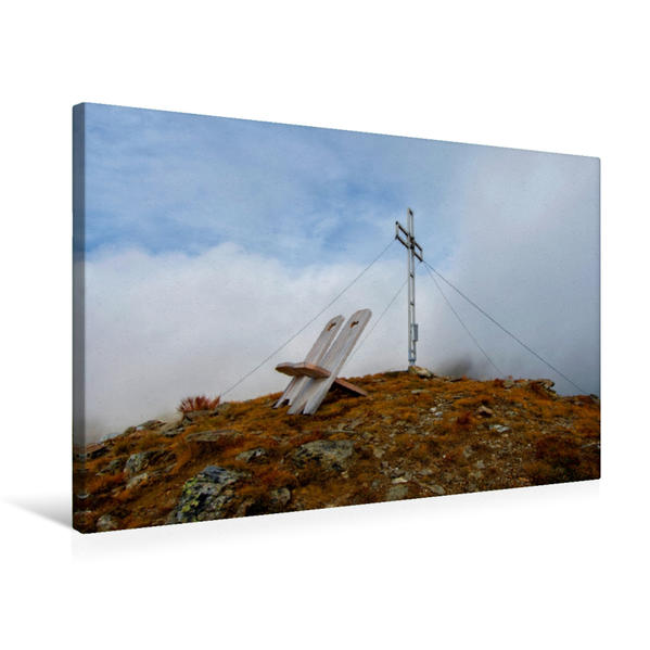 Premium Textil-Leinwand 75 cm x 50 cm quer, Schafskopf bei Gais | Wandbild, Bild auf Keilrahmen, Fertigbild auf echter Leinwand, Leinwanddruck - Coverbild