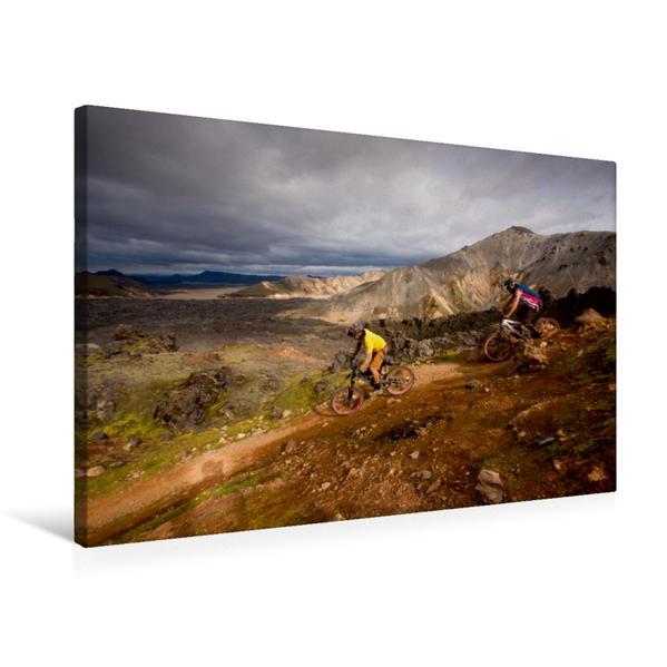 Premium Textil-Leinwand 75 cm x 50 cm quer, Bike Abenteuer Island | Wandbild, Bild auf Keilrahmen, Fertigbild auf echter Leinwand, Leinwanddruck - Coverbild