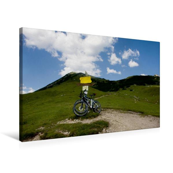 Premium Textil-Leinwand 75 cm x 50 cm quer, Auf dem Weg zur Plumsjochhütte | Wandbild, Bild auf Keilrahmen, Fertigbild auf echter Leinwand, Leinwanddruck - Coverbild