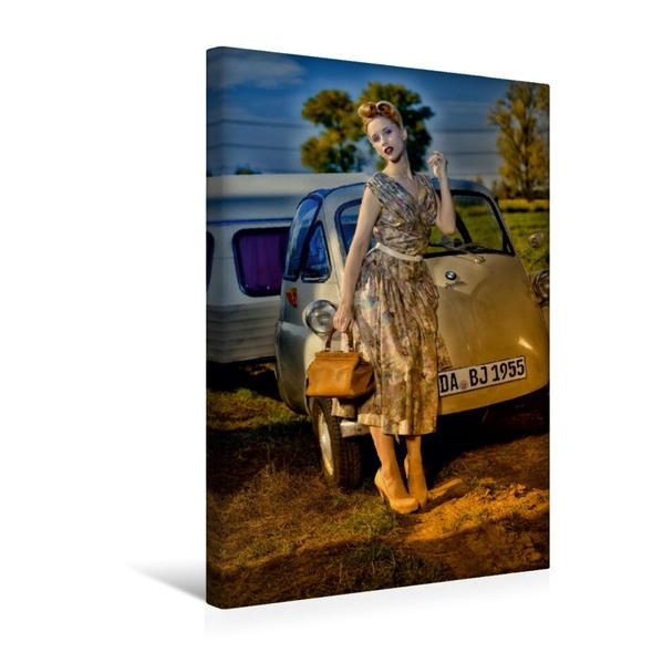 Premium Textil-Leinwand 30 cm x 45 cm hoch, Isetta Camping   Wandbild, Bild auf Keilrahmen, Fertigbild auf echter Leinwand, Leinwanddruck - Coverbild