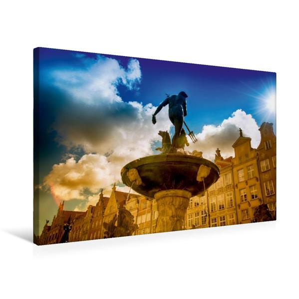 Premium Textil-Leinwand 75 cm x 50 cm quer, Poseidon Brunnen Danzig | Wandbild, Bild auf Keilrahmen, Fertigbild auf echter Leinwand, Leinwanddruck - Coverbild