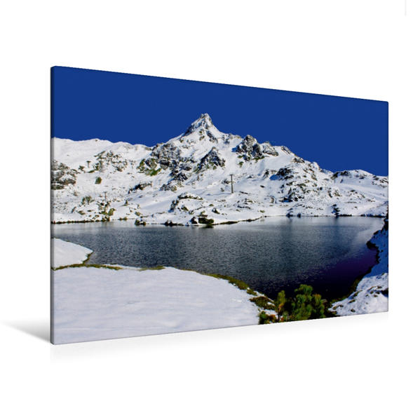 Premium Textil-Leinwand 120 cm x 80 cm quer, Krummschnabelsee - Obertauern | Wandbild, Bild auf Keilrahmen, Fertigbild auf echter Leinwand, Leinwanddruck - Coverbild