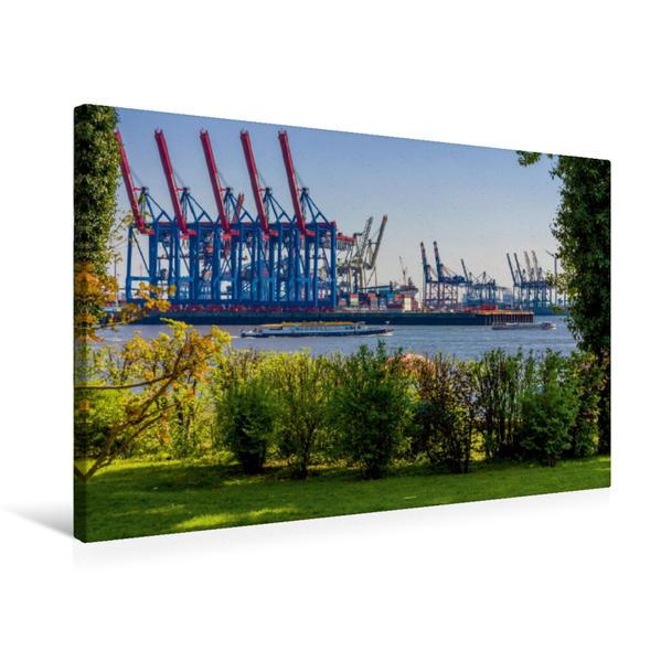 Premium Textil-Leinwand 75 cm x 50 cm quer, Hafenanlagen bei Övelgönne | Wandbild, Bild auf Keilrahmen, Fertigbild auf echter Leinwand, Leinwanddruck - Coverbild