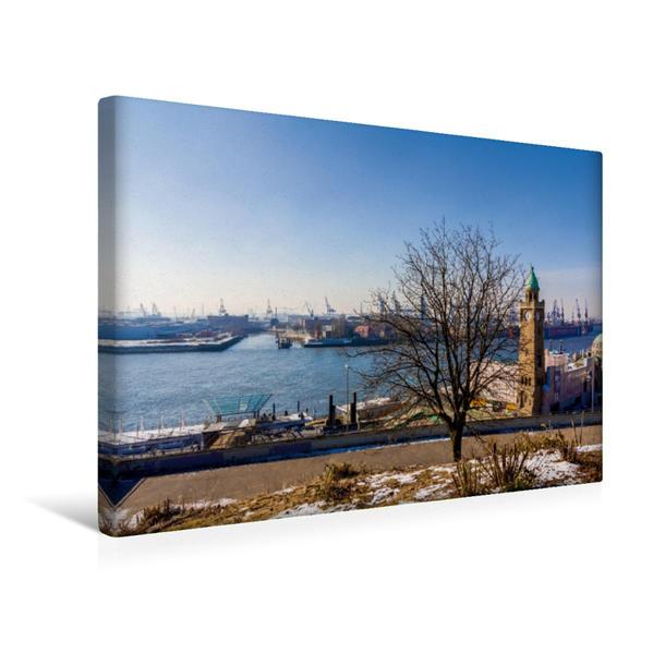 Premium Textil-Leinwand 45 cm x 30 cm quer, Die winterlichen Landungsbrücken | Wandbild, Bild auf Keilrahmen, Fertigbild auf echter Leinwand, Leinwanddruck - Coverbild