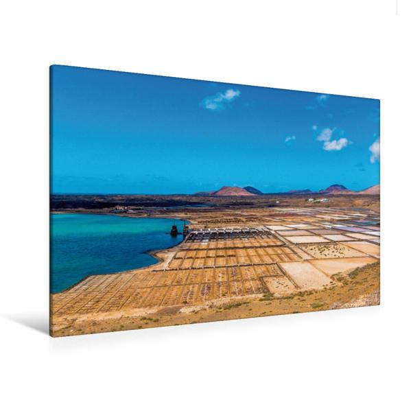 Premium Textil-Leinwand 120 cm x 80 cm quer, Die Salinas de Janubio   Wandbild, Bild auf Keilrahmen, Fertigbild auf echter Leinwand, Leinwanddruck - Coverbild