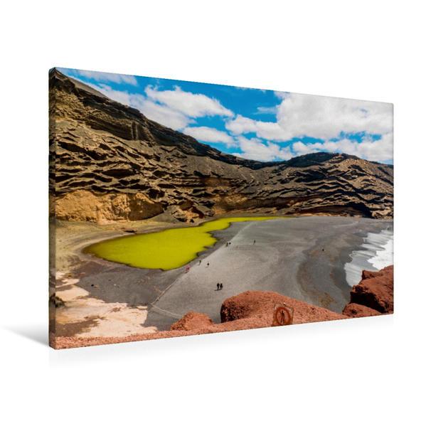 Premium Textil-Leinwand 90 cm x 60 cm quer, Der Lagunensee bei El Golfo | Wandbild, Bild auf Keilrahmen, Fertigbild auf echter Leinwand, Leinwanddruck - Coverbild
