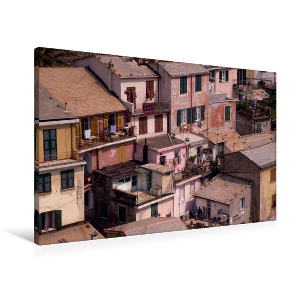 Premium Textil-Leinwand 90 cm x 60 cm quer, Cinque Terre Küstendorf Häuser | Wandbild, Bild auf Keilrahmen, Fertigbild auf echter Leinwand, Leinwanddruck - Coverbild
