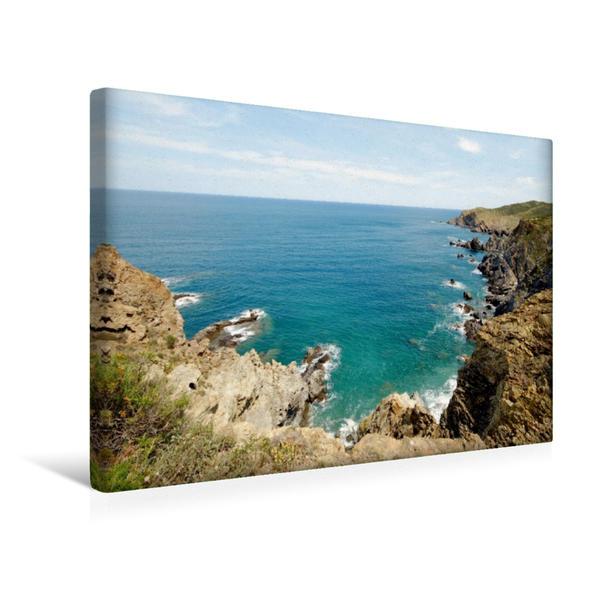 Premium Textil-Leinwand 45 cm x 30 cm quer, Frankreich (Purpurküste)   Wandbild, Bild auf Keilrahmen, Fertigbild auf echter Leinwand, Leinwanddruck - Coverbild