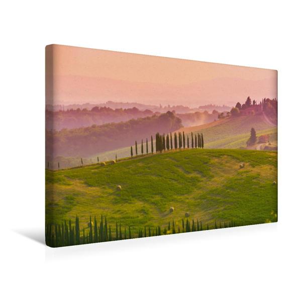 Premium Textil-Leinwand 45 cm x 30 cm quer, Abendstimmung der Toskana | Wandbild, Bild auf Keilrahmen, Fertigbild auf echter Leinwand, Leinwanddruck - Coverbild