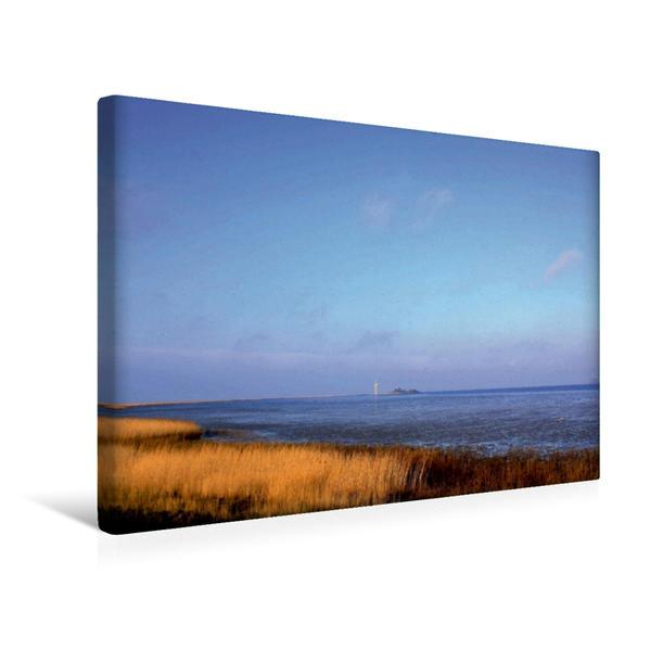 Premium Textil-Leinwand 45 cm x 30 cm quer, Wesermündung bei Bremerhaven   Wandbild, Bild auf Keilrahmen, Fertigbild auf echter Leinwand, Leinwanddruck - Coverbild
