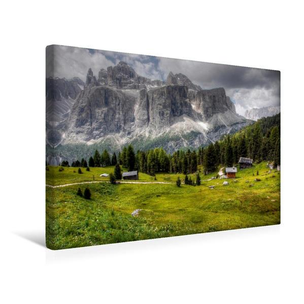 Premium Textil-Leinwand 45 cm x 30 cm quer, Sella Meisules - Gröden Dolomiten | Wandbild, Bild auf Keilrahmen, Fertigbild auf echter Leinwand, Leinwanddruck - Coverbild