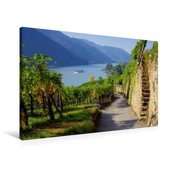 Premium Textil-Leinwand 90 cm x 60 cm quer, Wachauer Weinberge | Wandbild, Bild auf Keilrahmen, Fertigbild auf echter Leinwand, Leinwanddruck - Coverbild