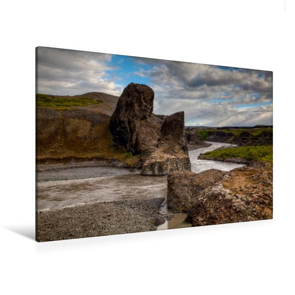 Premium Textil-Leinwand 120 cm x 80 cm quer, Jökulsa á Fjöllum | Wandbild, Bild auf Keilrahmen, Fertigbild auf echter Leinwand, Leinwanddruck - Coverbild