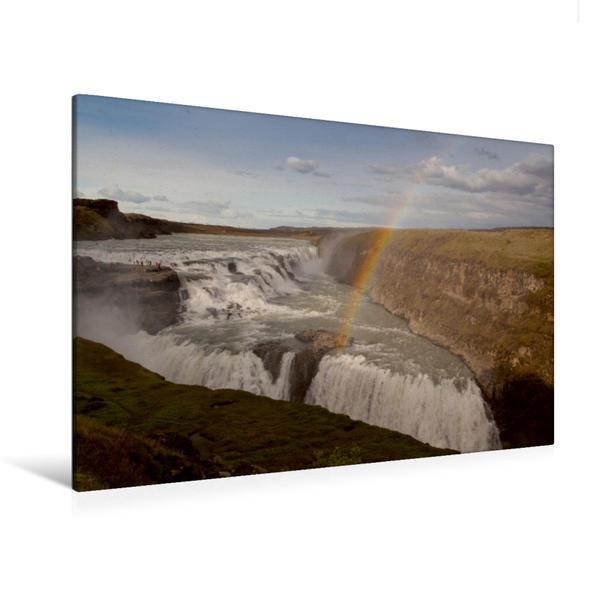 Premium Textil-Leinwand 120 cm x 80 cm quer, Gulfoss | Wandbild, Bild auf Keilrahmen, Fertigbild auf echter Leinwand, Leinwanddruck - Coverbild