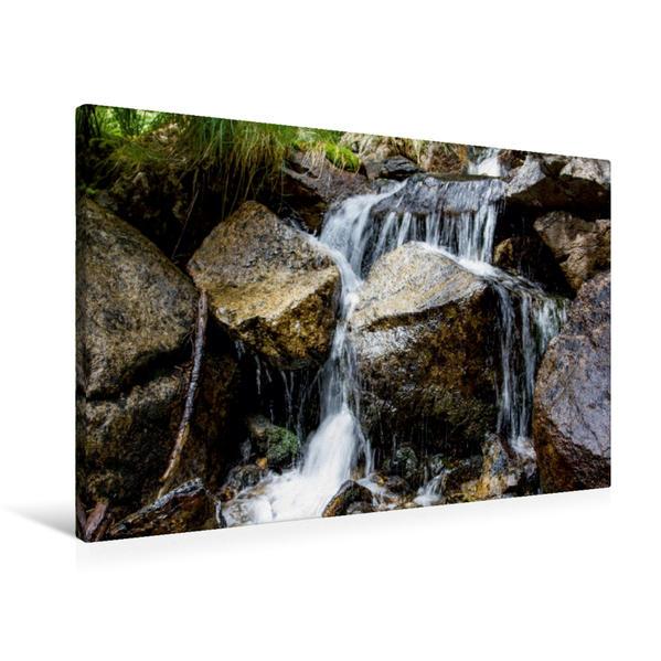 Premium Textil-Leinwand 90 cm x 60 cm quer, Minikaskade   Wandbild, Bild auf Keilrahmen, Fertigbild auf echter Leinwand, Leinwanddruck - Coverbild