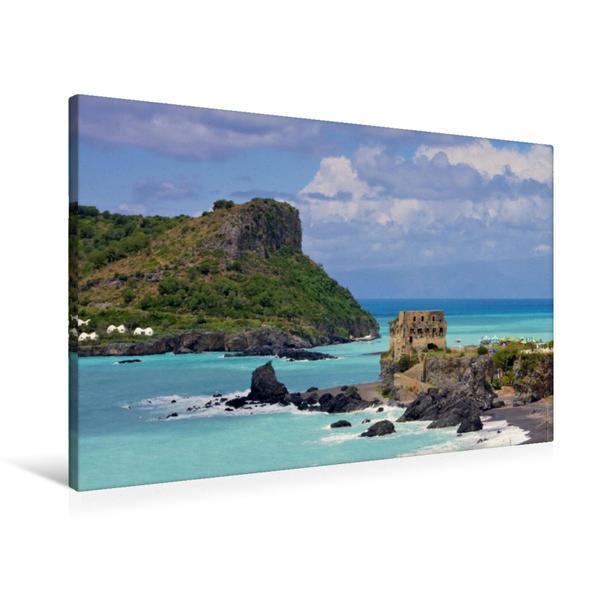 Premium Textil-Leinwand 90 cm x 60 cm quer, Isola di Dino   Wandbild, Bild auf Keilrahmen, Fertigbild auf echter Leinwand, Leinwanddruck - Coverbild