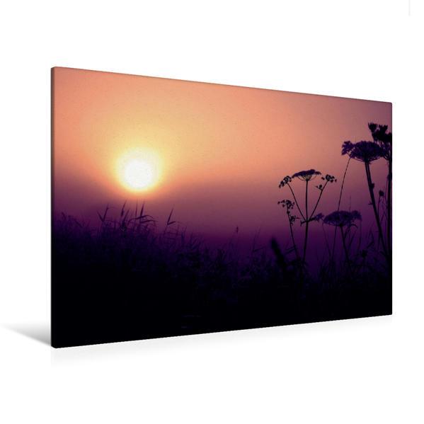 Premium Textil-Leinwand 120 cm x 80 cm quer, Ein Motiv aus dem Kalender Sonnenaufgang im Teufelsmoor | Wandbild, Bild auf Keilrahmen, Fertigbild auf echter Leinwand, Leinwanddruck - Coverbild