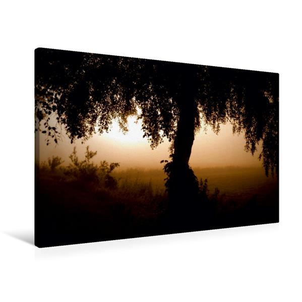 Premium Textil-Leinwand 90 cm x 60 cm quer, Ein Motiv aus dem Kalender Sonnenaufgang im Teufelsmoor   Wandbild, Bild auf Keilrahmen, Fertigbild auf echter Leinwand, Leinwanddruck - Coverbild
