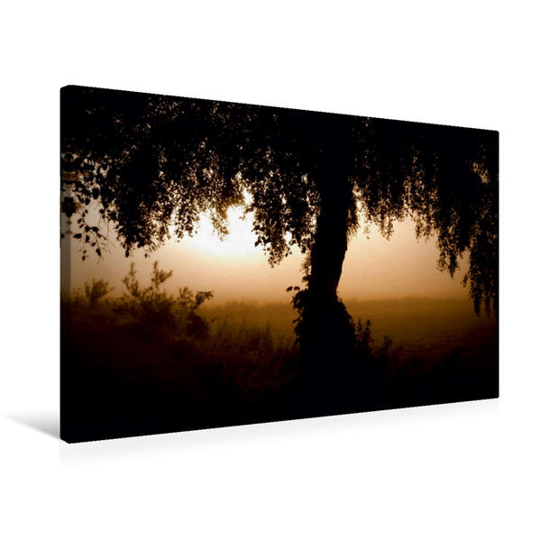 Premium Textil-Leinwand 75 cm x 50 cm quer, Ein Motiv aus dem Kalender Sonnenaufgang im Teufelsmoor | Wandbild, Bild auf Keilrahmen, Fertigbild auf echter Leinwand, Leinwanddruck - Coverbild