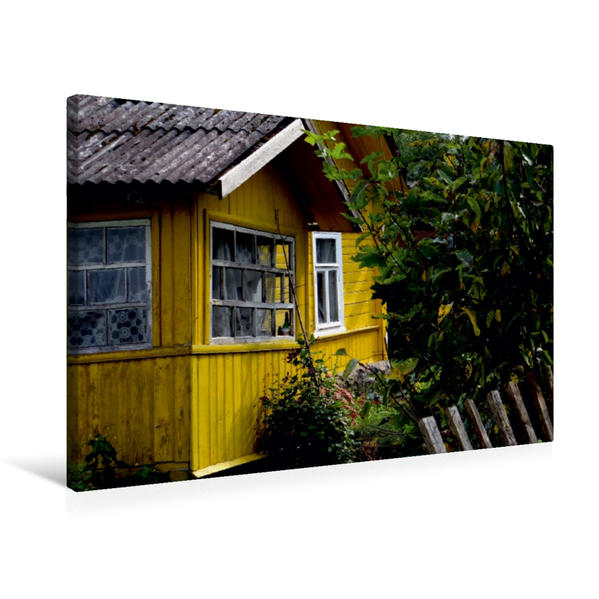 Premium Textil-Leinwand 75 cm x 50 cm quer, Altes Holzhaus im Puschkin-Dorf Petrowskoje | Wandbild, Bild auf Keilrahmen, Fertigbild auf echter Leinwand, Leinwanddruck - Coverbild