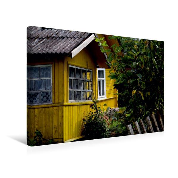 Premium Textil-Leinwand 45 cm x 30 cm quer, Altes Holzhaus im Puschkin-Dorf Petrowskoje | Wandbild, Bild auf Keilrahmen, Fertigbild auf echter Leinwand, Leinwanddruck - Coverbild