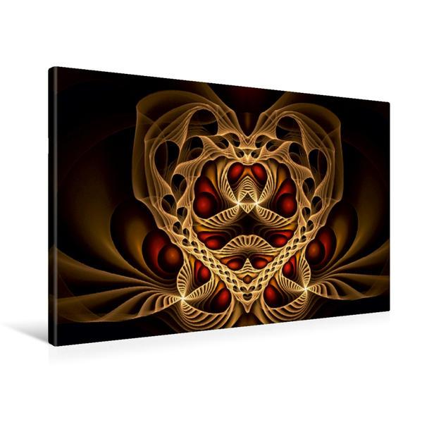 Premium Textil-Leinwand 90 cm x 60 cm quer, Herzfraktal | Wandbild, Bild auf Keilrahmen, Fertigbild auf echter Leinwand, Leinwanddruck - Coverbild