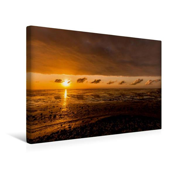 Premium Textil-Leinwand 45 cm x 30 cm quer, Sonnenuntergang am Strand von Harlesiel   Wandbild, Bild auf Keilrahmen, Fertigbild auf echter Leinwand, Leinwanddruck - Coverbild