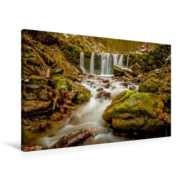 Premium Textil-Leinwand 90 cm x 60 cm quer, Wildromatischer Wasserfall des Gaisalpbaches   Wandbild, Bild auf Keilrahmen, Fertigbild auf echter Leinwand, Leinwanddruck - Coverbild