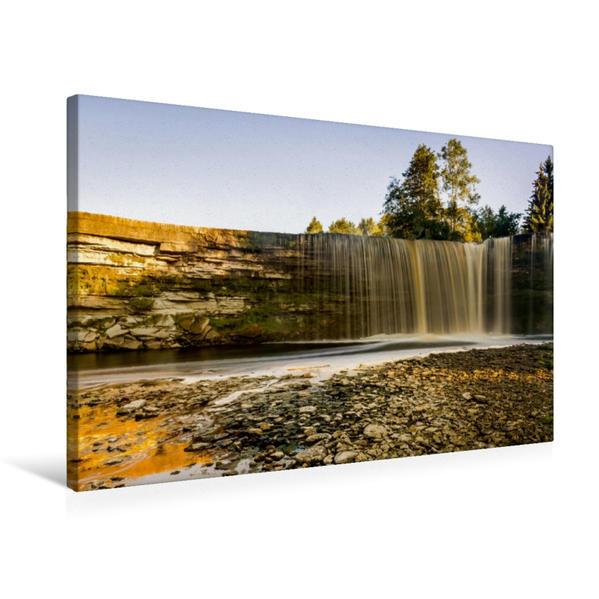 Premium Textil-Leinwand 75 cm x 50 cm quer, Unterhalb des Jägala Wasserfalls in Estland | Wandbild, Bild auf Keilrahmen, Fertigbild auf echter Leinwand, Leinwanddruck - Coverbild