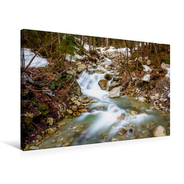 Premium Textil-Leinwand 75 cm x 50 cm quer, Benebach im Mangfallgebirge   Wandbild, Bild auf Keilrahmen, Fertigbild auf echter Leinwand, Leinwanddruck - Coverbild
