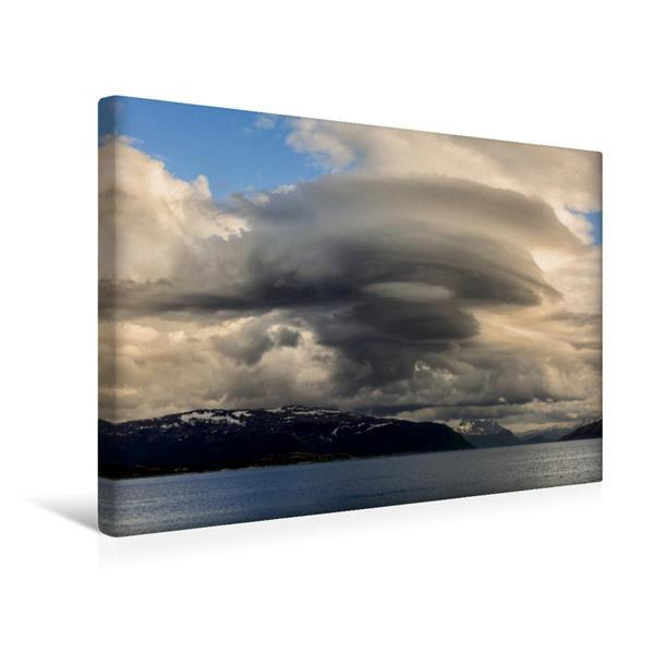 Premium Textil-Leinwand 45 cm x 30 cm quer, Impossante Sturmwolken über der Insel Straumøya | Wandbild, Bild auf Keilrahmen, Fertigbild auf echter Leinwand, Leinwanddruck - Coverbild