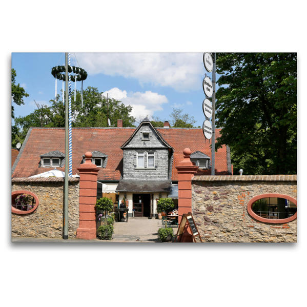 Premium Textil-Leinwand 120 cm x 80 cm quer, Frankfurter Haus   Wandbild, Bild auf Keilrahmen, Fertigbild auf echter Leinwand, Leinwanddruck - Coverbild