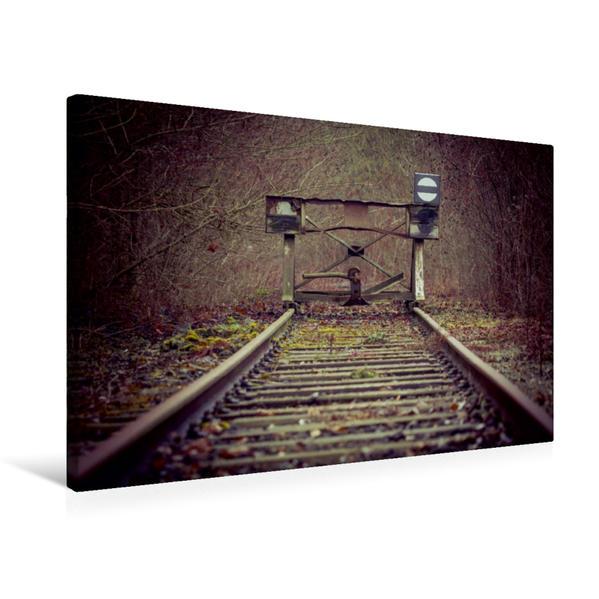 Premium Textil-Leinwand 75 cm x 50 cm quer, Ein Motiv aus dem Kalender Endstation - In Vergessenheit geratene Bahngleise | Wandbild, Bild auf Keilrahmen, Fertigbild auf echter Leinwand, Leinwanddruck - Coverbild