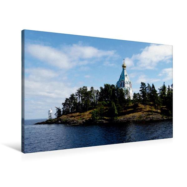 Premium Textil-Leinwand 90 cm x 60 cm quer, Klosterinsel Valaam im Ladogasee | Wandbild, Bild auf Keilrahmen, Fertigbild auf echter Leinwand, Leinwanddruck - Coverbild