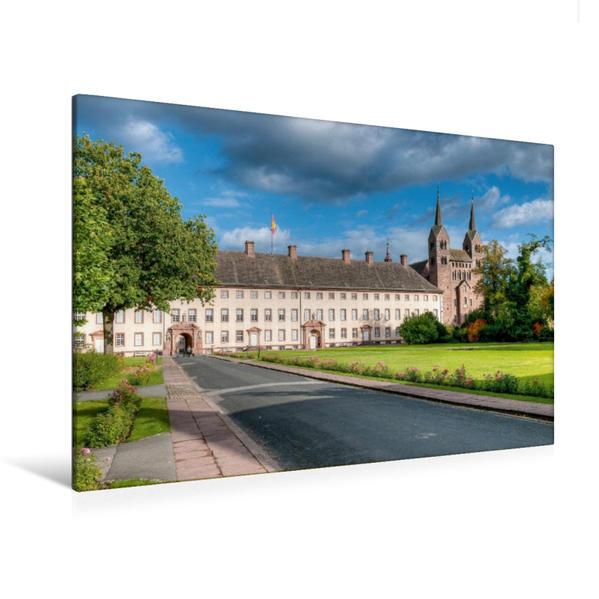 Premium Textil-Leinwand 120 cm x 80 cm quer, Schloss Corvey | Wandbild, Bild auf Keilrahmen, Fertigbild auf echter Leinwand, Leinwanddruck - Coverbild