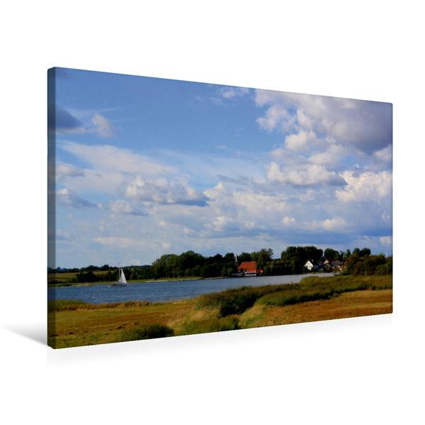 Premium Textil-Leinwand 75 cm x 50 cm quer, Schifferkirche in Arnis | Wandbild, Bild auf Keilrahmen, Fertigbild auf echter Leinwand, Leinwanddruck - Coverbild