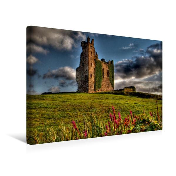 Premium Textil-Leinwand 45 cm x 30 cm quer, Irland: Ballycarberry Castle, Cahersiveen | Wandbild, Bild auf Keilrahmen, Fertigbild auf echter Leinwand, Leinwanddruck - Coverbild